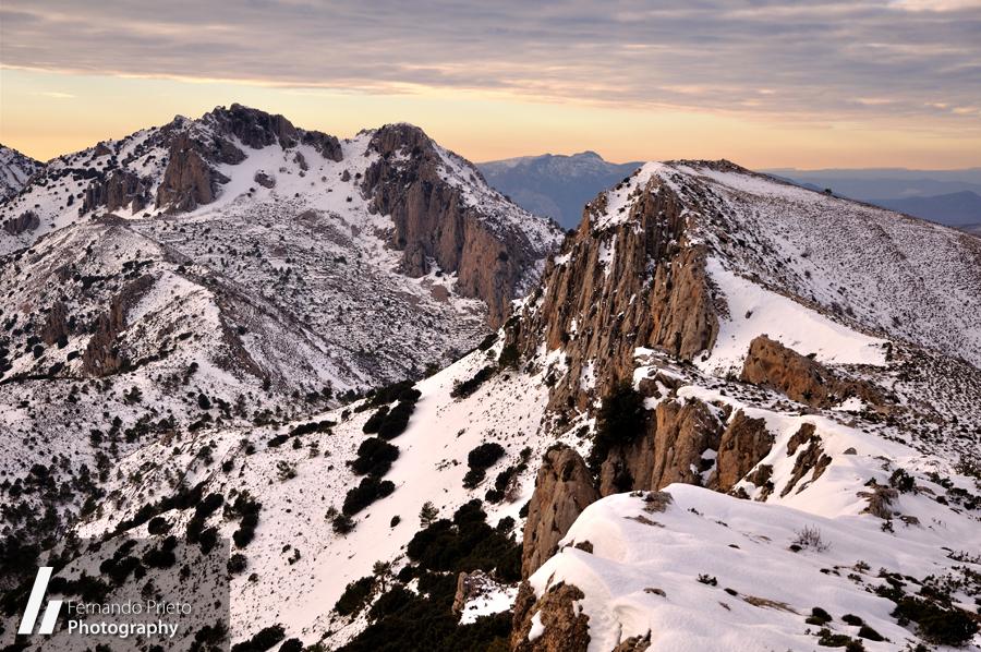 Plà de la Casa con nieve, Serrella - Montañas de Alicante