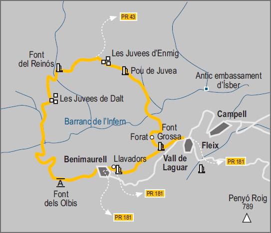 Barranc de l'Infern - Croquis de la ruta