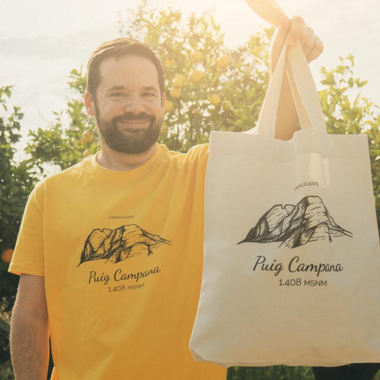 """Camisetas y bolsas de tela """"Puig Campana"""""""