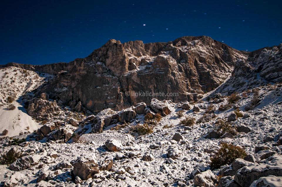 Fotografía nocturna en la nieve, Sierra de Aitana