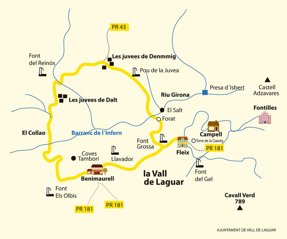 Plano sendero Barranc de l'Infern - PR-CV 147
