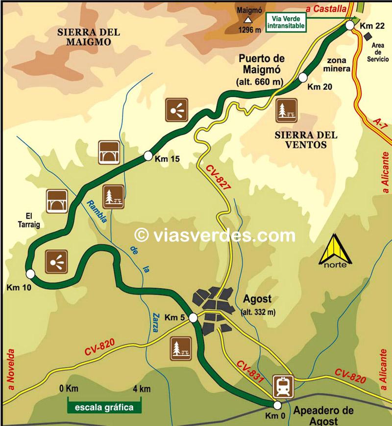Plano Vía Verde Maigmó
