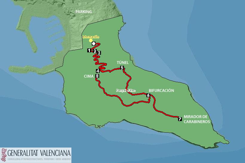 Plano ruta Penyal Ifac