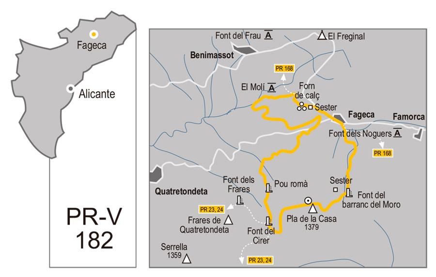 Plano Ruta Pla de la Casa desde Fageca